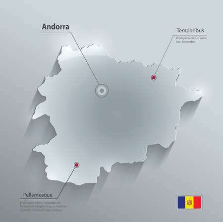 papery: Andorra map flag glass card paper 3D vector Illustration