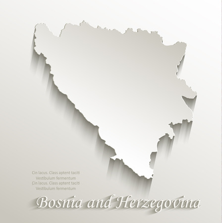 papery: Bosnia and Herzegovina map card paper 3D natural vector