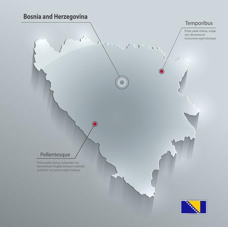 herzegovina: Bosnia and Herzegovina map flag glass card paper 3D vector