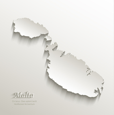 malta map: Malta map card paper 3D natural