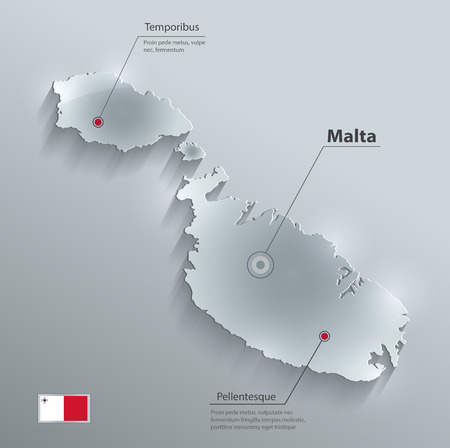 malta map: Malta map flag glass card paper 3D vector