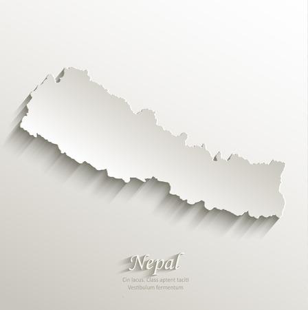 himalayas: Nepal map card paper 3D natural vector