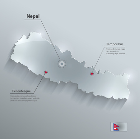 papery: Nepal map flag glass card paper 3D vector