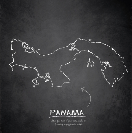 panama: Panama map blackboard chalkboard vector Illustration