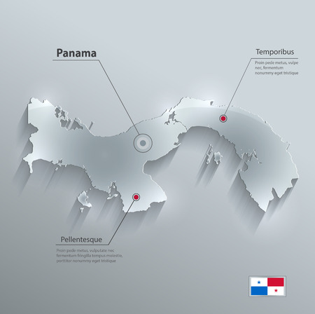 Panama map flag glass card paper 3D vector Vector