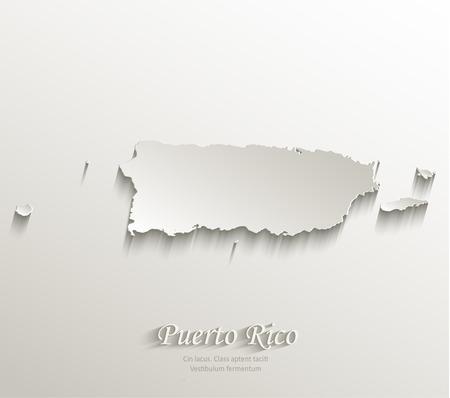 rican: Puerto Rico papel Mapa de la tarjeta 3D vector natural Vectores