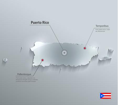 Puerto Rico map flag glass card paper 3D vector Vector