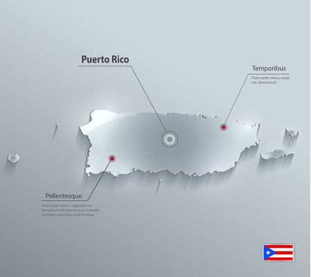 rican: Tarjeta de cristal de bandera de mapa Puerto Rico papel de vector 3D