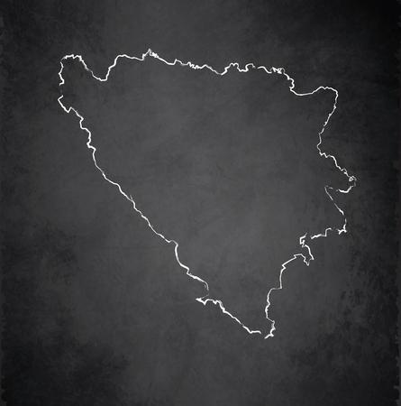 herzegovina: Bosnia and Herzegovina map blackboard chalkboard raster