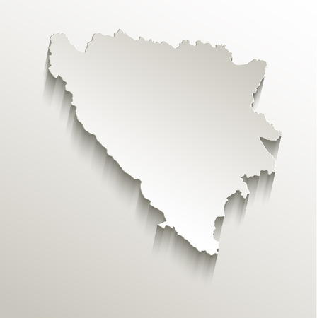 bosnia and  herzegovina: Bosnia and Herzegovina map card paper 3D natural raster Stock Photo