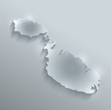 papery: Malta map glass card paper 3D raster