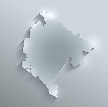 papery: Montenegro map glass card paper 3D raster