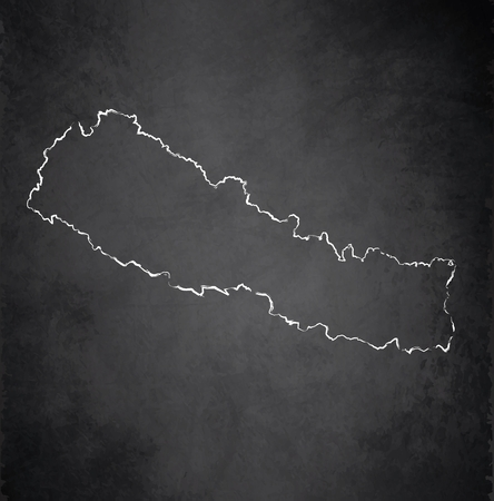 raster: Nepal map blackboard chalkboard raster Stock Photo