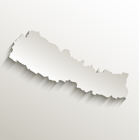 nepal: Nepal map card paper 3D natural raster