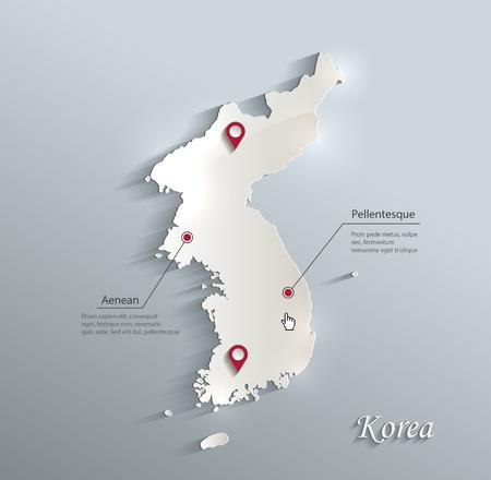 Korea map blue white card paper 3D vector Stock Illustratie