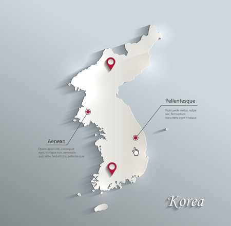 Korea map blue white card paper 3D vector Illustration