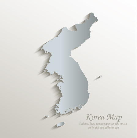 north korea: Korea map white blue card paper 3D vector