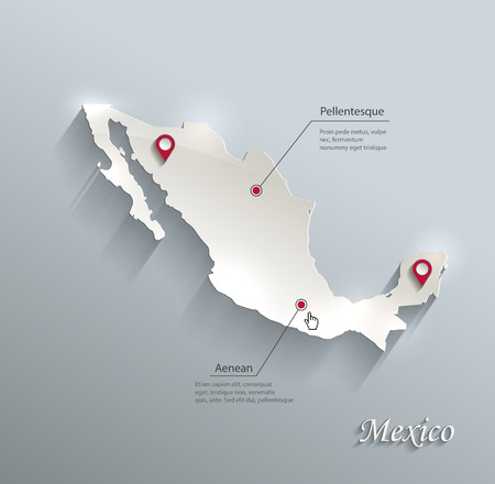 Mexico map blue white card paper 3D vector