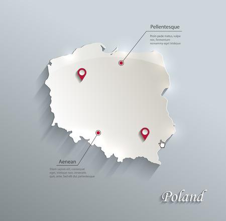 Poland map blue white card paper 3D vector Vector