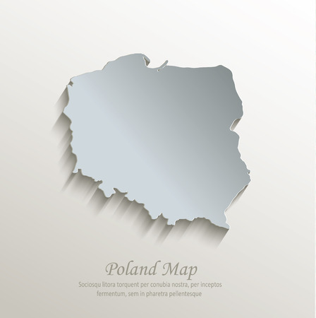papery: Poland map white blue card paper 3D vector
