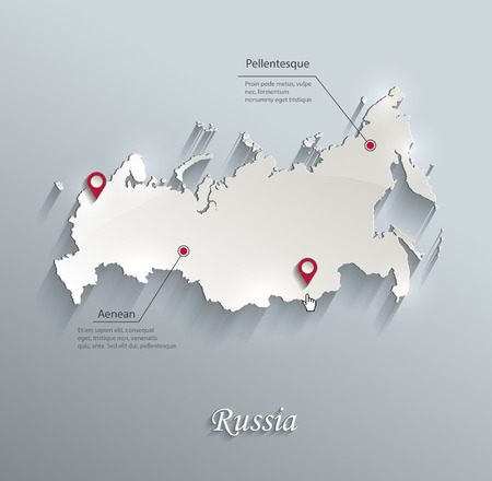 russia map: Russia map blue white card paper 3D vector