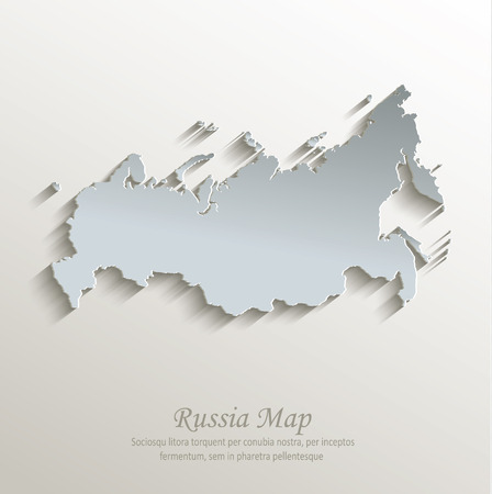 russia map: Russia map white blue card paper 3D vector