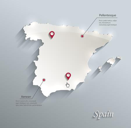 スペイン地図青白いカード用紙 3D ベクトル
