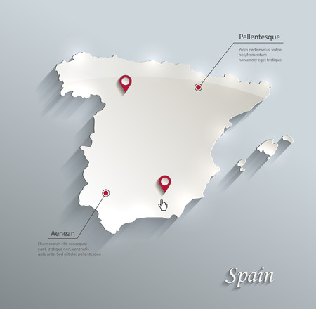 white card: Spain map blue white card paper 3D vector Illustration