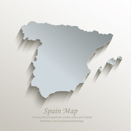 Spain map white blue card paper 3D vector