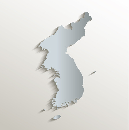 papery: Korea map in white blue card paper 3D raster