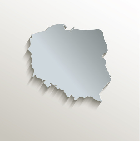 papery: Poland map in white blue card paper 3D raster