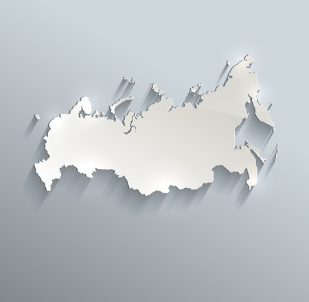 russia map: Russia map on blue white card paper 3D raster