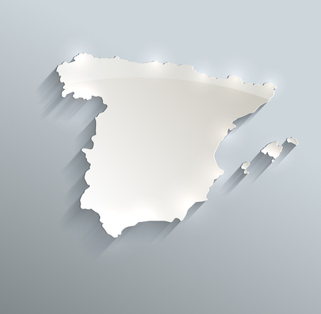 papery: Spain map blue white card paper 3D raster
