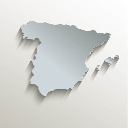papery: Spain map white blue card paper 3D raster