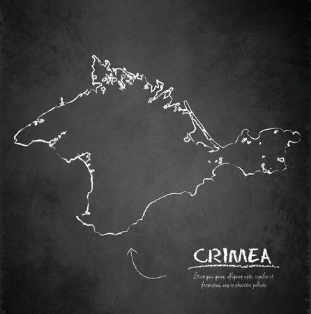 crimea: Crimea map blackboard chalkboard vector