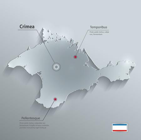 crimea: Crimea map flag glass card paper 3D vector