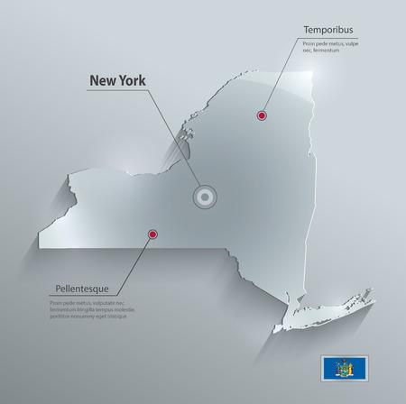 new york map: New York map flag glass card paper 3D vector Illustration