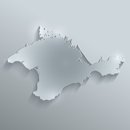 papery: Crimea map glass card paper 3D raster