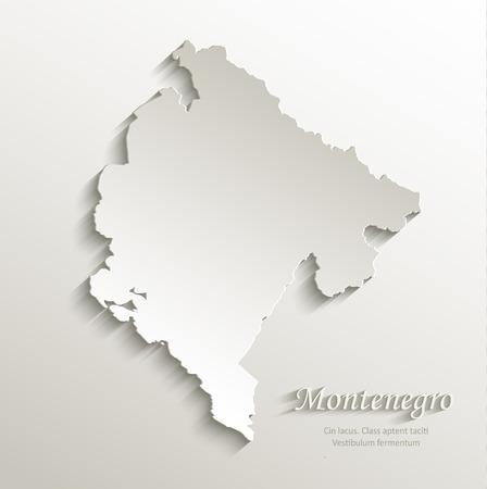 continental: Montenegro map card paper 3D natural vector