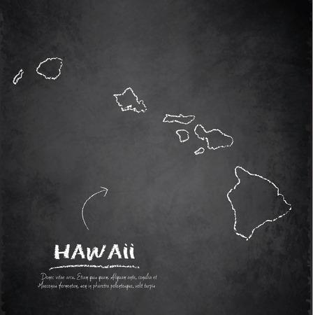 hawaii islands: Hawaii map chalkboard blackboard Illustration