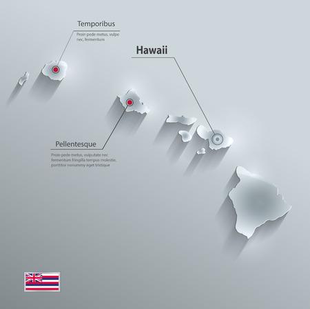 hawaii flag: Hawaii map flag glass card paper 3D