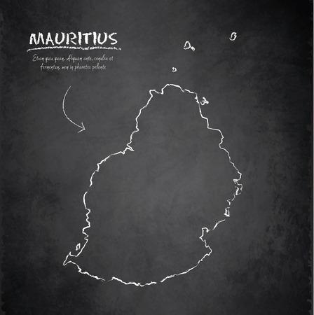 mauritius: Mauritius map chalkboard blackboard