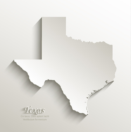 papery: Texas map card paper 3D natural  Illustration