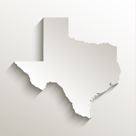 Texas map card paper 3D raster natural Stock Photo
