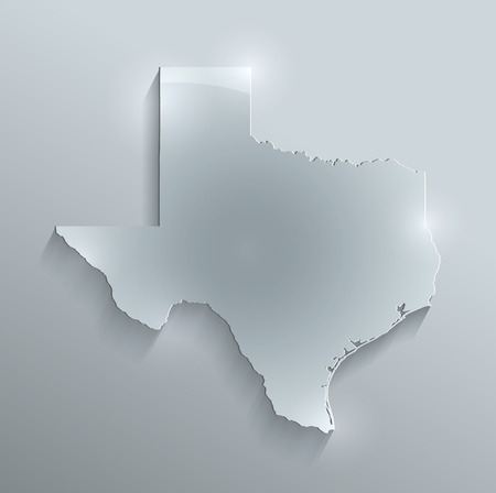 papery: Texas Maps glass card paper 3D raster Stock Photo