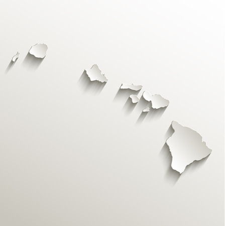 island state: Hawaii map card paper 3D raster natural