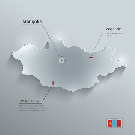 papery: Mongolia map flag glass card paper 3D Illustration