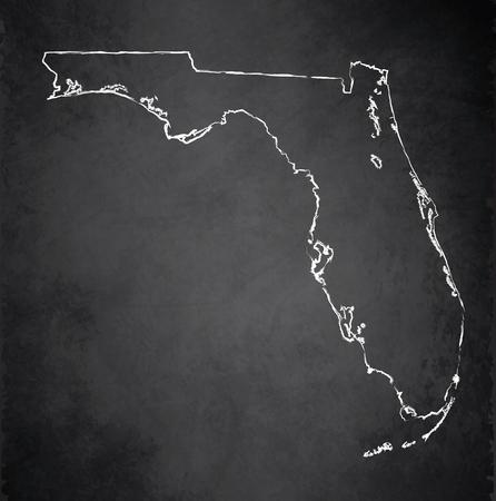 raster: Florida map chalkboard blackboard raster Stock Photo