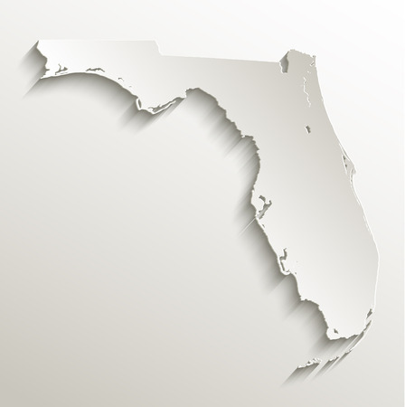 papery: Florida map card paper 3D raster natural