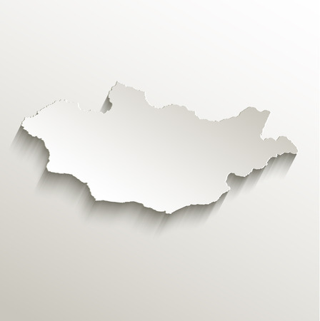 papery: Mongolia map card paper 3D raster natural
